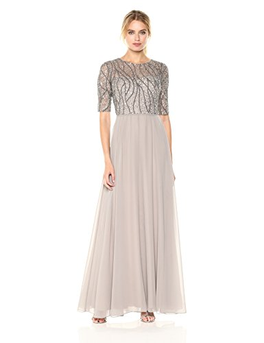Adrianna Papell Women's Long Beaded Gown with Elbow Sleeve and Chiffon Skirt