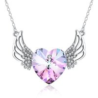 Angel Wing Necklace PLATO H Angel Wings Guarded Heart Pendant Necklace Love Heart Pendant Necklace with Swarovski Crystals Heart Shape Necklace Gift for Woman, Purple Pink , 18""