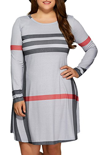 Pink Queen Women's Plaid Printed Plus Size Dress Casual T Shirt Tops