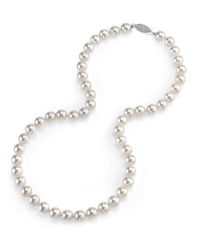 14K Gold 7.5-8.0mm Japanese Akoya Saltwater White Cultured Pearl Necklace – AAA Quality, 16″ Length