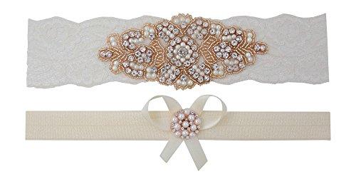 Rose Gold Garter – Bridal Garter Set (XXL- (24″ – 25″), Ivory Lace)