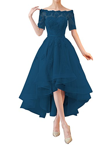 Kevins Bridal Off Shoulder High Low Prom Dresses 1/2 Sleeves Bridesmaid Dress Appliques Teal Size 14
