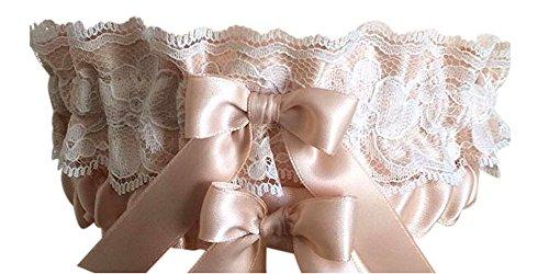Blush and Ivory Lace Wedding & Bridal Garter Set, Prom Garter Set (Regular)