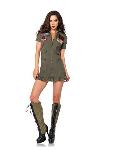 Leg Avenue Women's Top Gun Flight Zipper Front Dress Costume