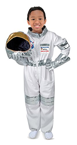 Melissa & Doug Astronaut Role Play Costume Set (5 pcs) – Jumpsuit, Helmet, Gloves, Name Tag