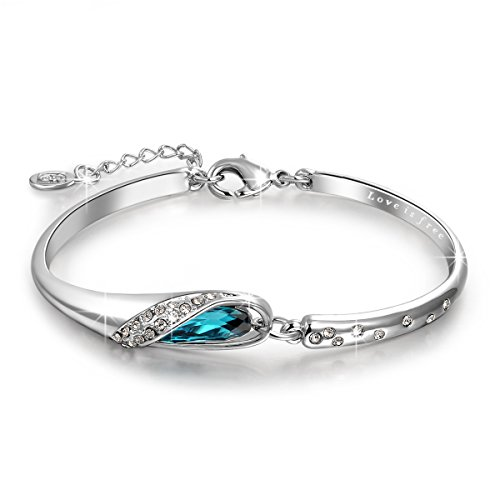 "QIANSE ""Glass Slipper"" 7 Inches Bangle Bracelet Made with Blue Swarovski Crystal – Fairytale Design!"