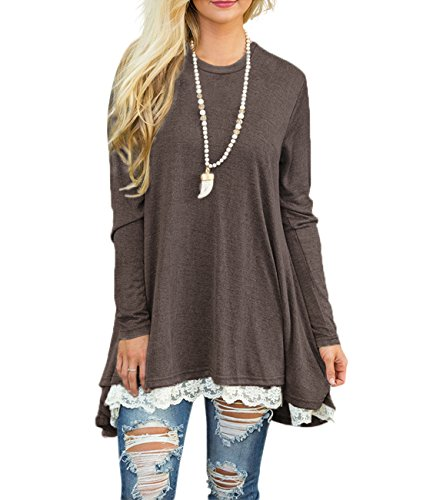 Sanifer Women Lace Long Sleeve Tunic Top Blouse (XX-Large, Coffee)