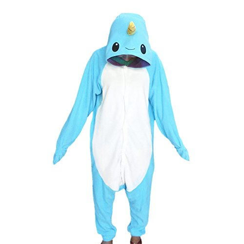 WOTOGOLD Animal Cosplay Costume Narwhal Unisex Adult Pajamas Light Blue Small