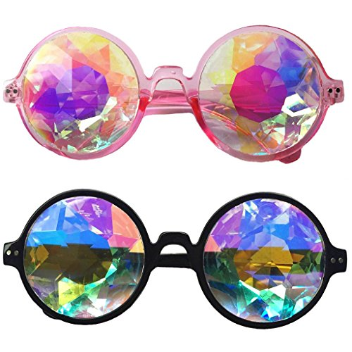 Set of 2pcs Festivals Kaleidoscope Glasses Rainbow Prism Sunglasses Goggles