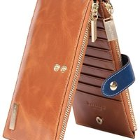 Borgasets RFID Blocking Women's Genuine Leather Wallet Credit Card Holder Zipper Purse Brown