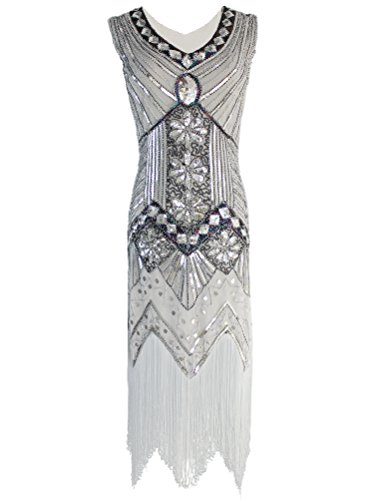 Vijiv Women 1920s Gastby Sequin Art Nouveau Embellished Fringed Cocktail Dresses,Silver,Large