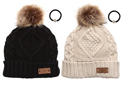 Women's Winter Fleece Lined Cable Knitted Pom Pom Beanie Hat with Hair Tie.(Black&Khaki)