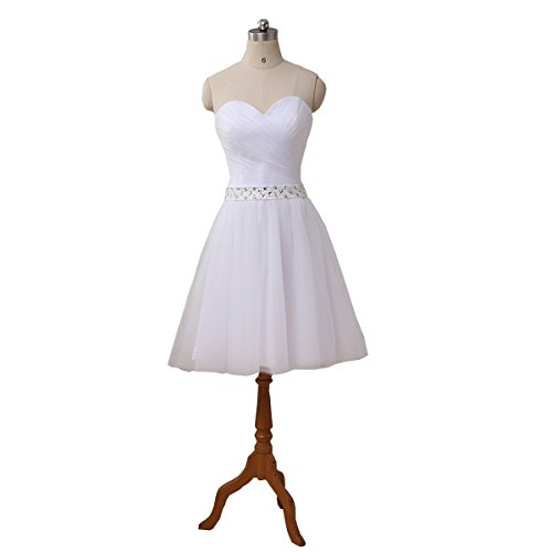 YIPEISHA Tulle Sweetheart Short Mini Wedding Dress Bridal Dress 6 White