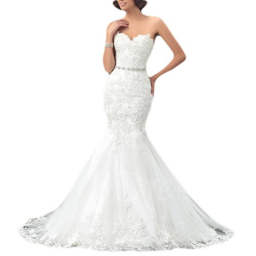 Mermaid Wedding Dress 2018 Bride Beaded Strapless Sweeetheart Lace Bridal Gown White Size 8