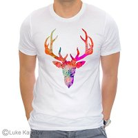 Deer Unisex T-shirt, Watercolor art print, ring spun Cotton 100%