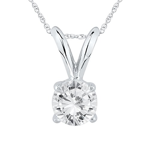 AGS Certified 1/3 Carat Round Diamond Solitaire Pendant in 14K White Gold (K-L Color, I2-I3 Clarity)