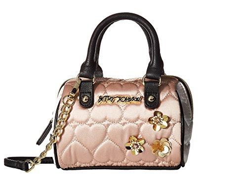 Betsey Johnson Satin Be Mine Sequin Flowers Mini Crossbody Satchel Bag – Sand