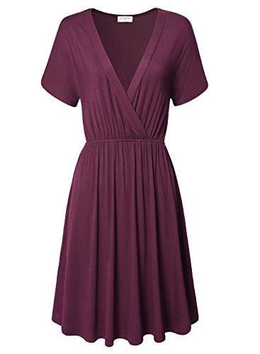 Bulotus Wedding Dress For Women, Plus Size Dress For Women Wedding Short Sleeve Deep V-Neck (XXL, Purple)