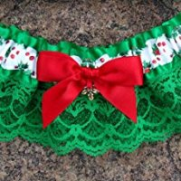 Christmas Wedding Garter in Red and Green with Your Choice of Charm