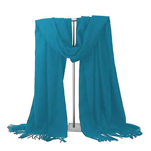 LERDU Womens Cashmere Scarf Wool Wrap Shawl Winter Collection (Blue)
