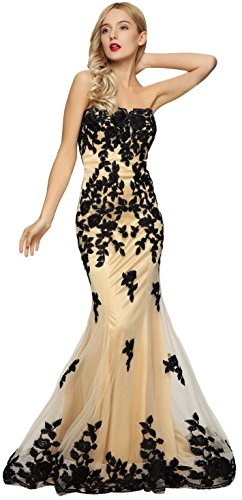 Meier Women's Strapless Lace Bead Formal Evening Gown Black 3XL