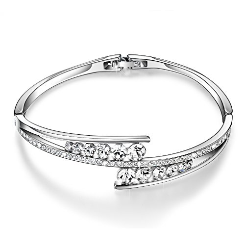 "Menton Ezil ""Love Encounter"" Swarovski Crystals Bangle Bracelets White Gold Plated Adjustable Hinged Jewerlry"