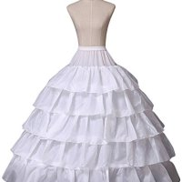 Miranda's Bridal Women's Floor Length 4 Hoops Ruffles Bridal Wedding Petticoat Tiered Ball Gown Underskirt White