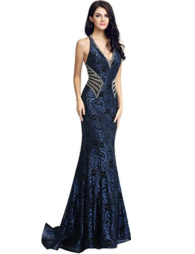 Sarahbridal Womens Lace Mermiad Prom Dress Long 2017 Sequin Evening Ball Gowns Navy Blue US2