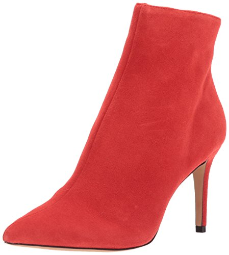 STEVEN by Steve Madden Women's Logic Ankle Boot, Red Suede, 9 M US