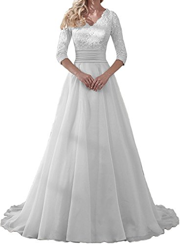 Wendybridal White 3/4 Long Sleeves Lace A Line Wedding Dresses Bridal Gown 18W
