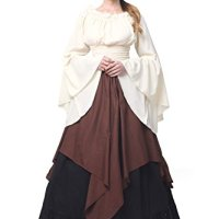Women Gothic Victorian Strapless Fancy Lolita Dress (XXL, white&dark brown)GC229A-XXL