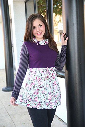 Womens Purple Green Long Sleeve Bohemian Tunic Swing Top Fall Winter Clothing Size Medium