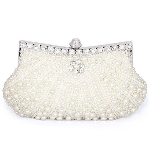 Baglamor Womens Pearl Bead Rhinestone Evening Clutch Fashion Purse with Chain (Beige)