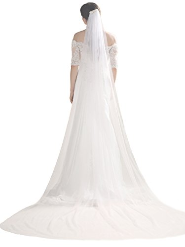 Bridalvenus Wedding Veil and Headpieces Bridal Cathedral Veil Chapel Veil with Comb (118 inches, Two Tiers Veil) (ivory)