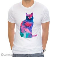 Cat 2 Unisex T-shirt, Watercolor art print, ring spun Cotton 100%
