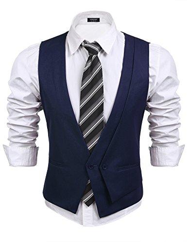 Coofandy Men's Suit Vest, V-neck Sleeveless Slim Fit Waistcoat, Skinny Wedding Dress Vest,Navy Blue,Large