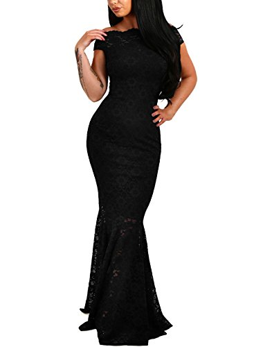 Elapsy Womens Sexy Elegant Off Shoulder Bardot Lace Evening Gown Fishtail Maxi Party Formal Dress Black X-Large