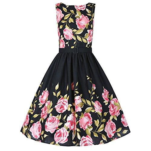 iPretty Vintage Dress Women Sleeveless Cotton Tea Party Cocktail Dress with Belt,Black,ASIAN 2XL / US 14