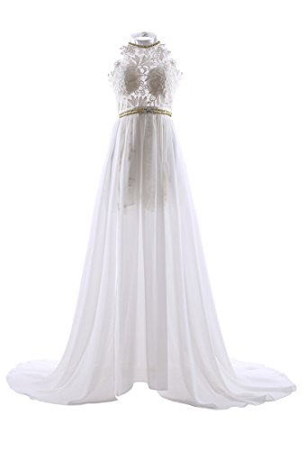 a4610a22eaf White Gloden Beading Elegant Sexy Halter neck Long Chiffton Lace beach  wedding dress ¡