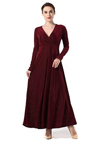 Women's Velvet Elegant Long Formal Evening Party Dress For Winter Burgundy Large