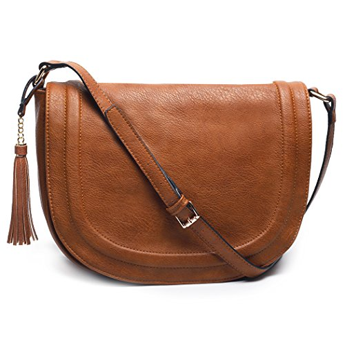 AMELIE GALANTI Women's Large Saddle Bag Shoulder Crossbody Bags with Flap Top & Tassel (Brown)