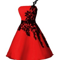 Dressesonline One-Shoulder A Line Short Homecoming Dress With Black Appliques 12