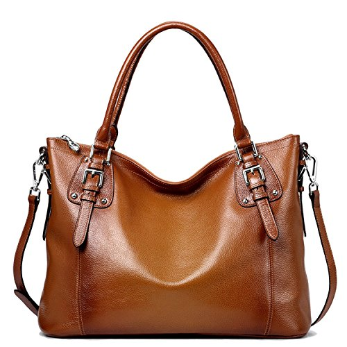 S-ZONE Women's Vintage Genuine Leather Handbag Tote Shoulder Bag Large Capacity