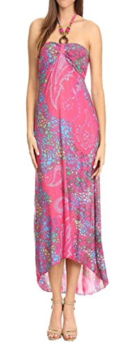 Juccini Abstract print, maxi dress in a relaxed style Summer Dress. (Extra-Large, Pink)