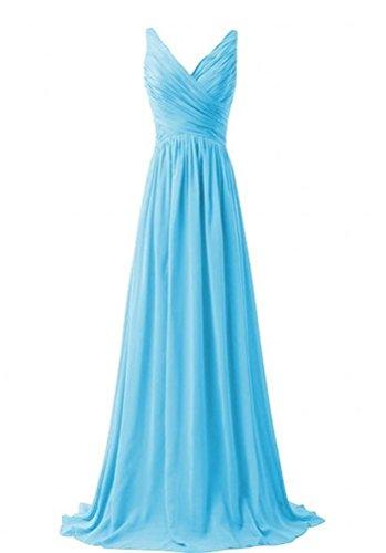 Miranda's Bridal Women's Sleeveless V Neck Pleated A Line Long Bridesmaid Dress Sky Blue US8