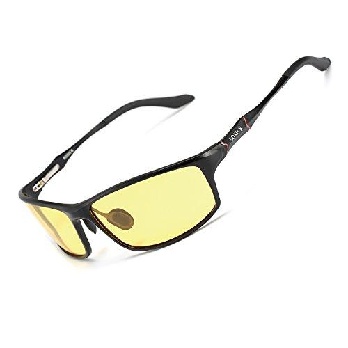 4a336957cc Night Vision Glasses for Driving Rain Day Driving Anti Glare Polarized Safe Night  Driving glasses (Black-1)