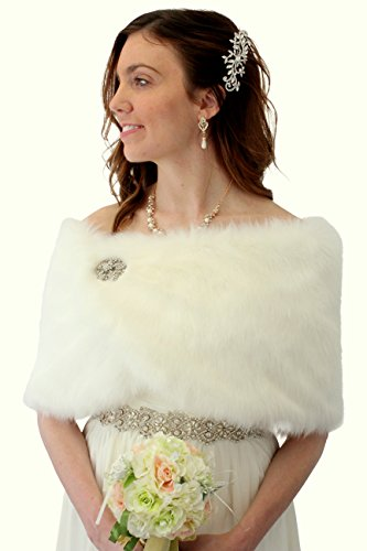 Bridal Fur Shawl Wrap Ivory Faux Fur Wrap Fur Shrug Free Brooch