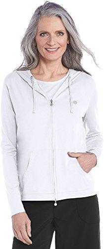 Coolibar UPF 50+ Women's Seaside Hoodie – Sun Protective (X-Large- White)