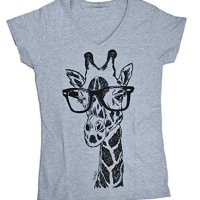 Womens T Shirt - Hand Printed Funny Giraffe V Neck Tshirt - Casual Short Sleeve S M L XL 2XL