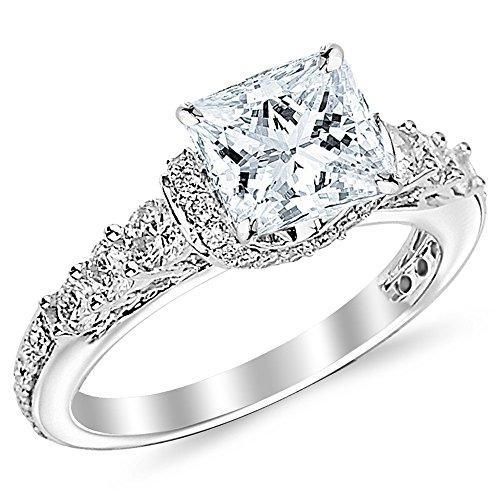1.57 Carat Princess Cut Designer Four Prong Round Diamond Engagement Ring (D-F Color, VS2-SI1 Clarity Center Stone)